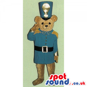 Light Brown Teddy Bear Toy Mascot With Soldier Blue Uniform -