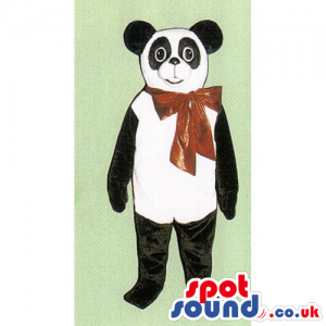 Customizable Panda Bear Animal Mascot With Red Big Ribbon -