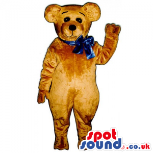 Customizable Light Brown Teddy Bear Mascot With A Blue Ribbon -