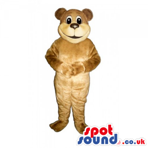 Customizable Light Brown Teddy Bear Mascot With Round Face -