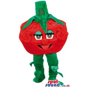 Tomato mascot who is in red colour with green legs - Custom