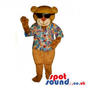 Customizable Brown Teddy Bear Mascot Wearing Summer Clothes -