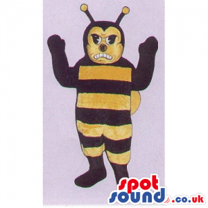 Customizable Bee Insect Mascot With Stripes And Angry Face -