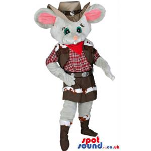Cowboy rat mascot with typical cow boy costume and in brown hat