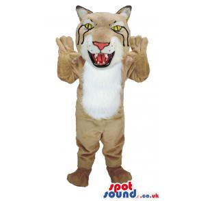 Scary tiger mascot in light brown colour and shedding black