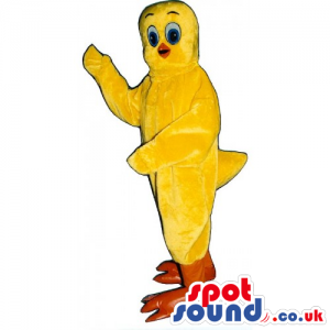 Yellow Canary Bird Mascot With Orange Legs And Blue Eyes -
