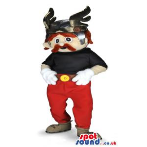 Man mascot with horn cap on his head and in red and black