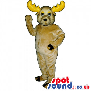 Customizable Plain Beige Moose Animal Mascot With Yellow Horns