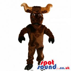 Customizable Plain Dark Brown Buffalo With Big Horns - Custom