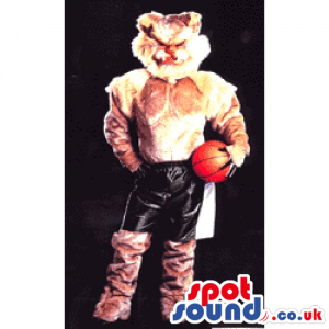 Customizable Fox Animal Mascot Wearing Shorts And A Basket Ball