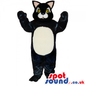 Customizable Black Big Cat Mascot With A White Belly - Custom