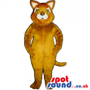Customizable And Plain Light Brown Cat Mascot With Yellow Eyes