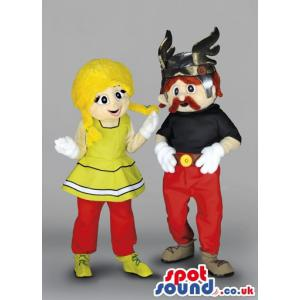 Man mascot with horn cap and woman mascot with yellow hair -