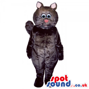 Customizable Black Cat Mascot With Pink Nose And Round Head -