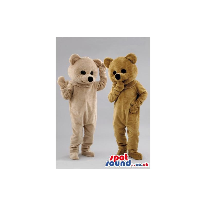 Two friendly brown teddy mascots having a friendly time