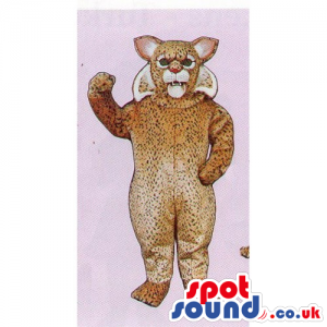Customizable Brown And Beige Wildcat Mascot With Furious Look -