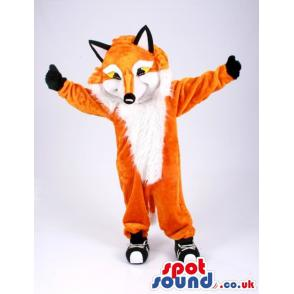 Orange and white fox mascot with black gloves and shoes -