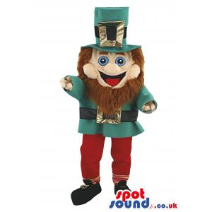 Dwarf mascot in black shoe with a green shirt & cap with red
