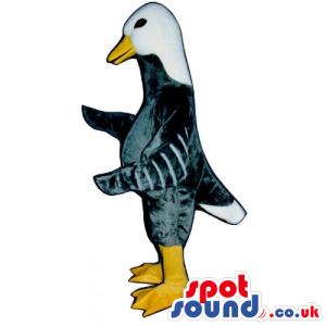 Grey Customizable Duck Farm Bird Mascot With White Head -