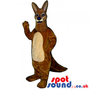 Customizable Brown Kangaroo Animal Mascot With Beige Belly For
