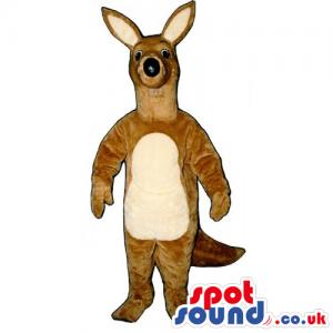 Customizable Light Brown Kangaroo Animal Mascot With Beige