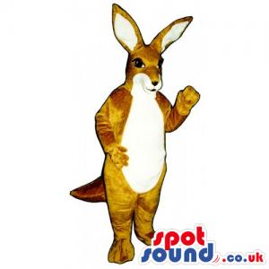 Customizable Brown Kangaroo Animal Mascot With White Belly -