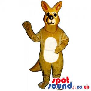 Customizable Brown Kangaroo Animal Mascot With Beige Belly -