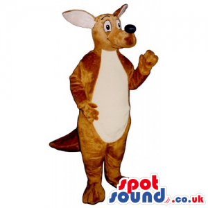 Customizable Brown Kangaroo Mascot With Beige Belly And Long