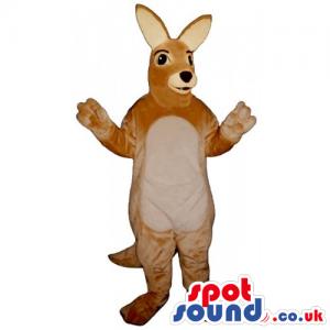 Customizable Light Brown Kangaroo Mascot With Cute Face -