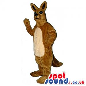 Brown Kangaroo Mascot With Beige Belly And Black Ears - Custom