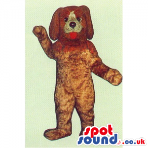 Plain Customizable Brown Dog Mascot With Tongue And White Face