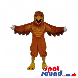 Customizable Strong Eagle Bird Mascot In Brown And Yellow -