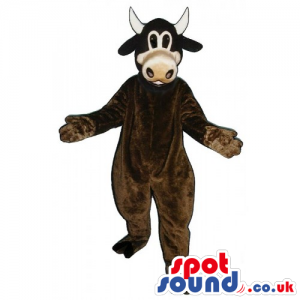 Customizable Cow Animal Mascot In Brown Without Spots - Custom