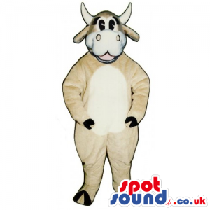 Customizable Cow Mascot In Beige With White Belly And Face -