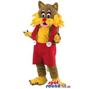 Shocked cat mascot with red jumper in yellow colour - Custom