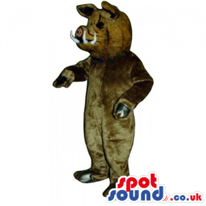 Customizable Plain Brown Boar Animal Mascot With White Fangs -
