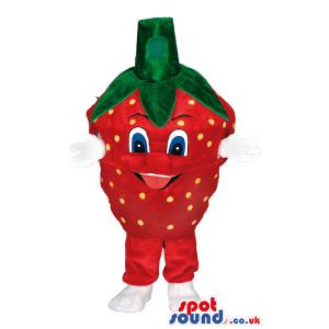 Strawberry mascot with green head with red body & in white