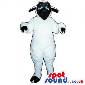 Customizable Plush White Sheep Animal Mascot With A Black Face
