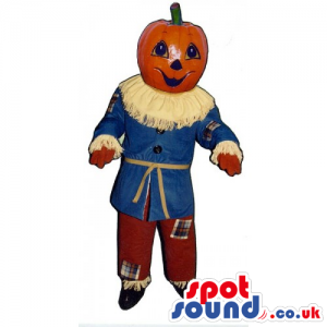 Customizable Pumpkin Head Mascot Dressed As A Scarecrow -