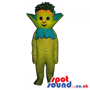 Customizable Green Creature Fantasy Mascot With Red Nose -