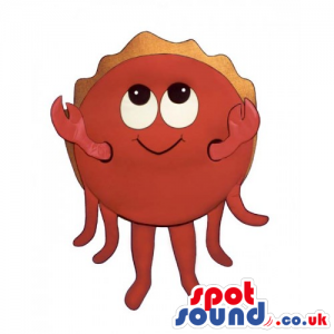 Customizable Red Round Crab Seafood Mascot With Funny Eyes -