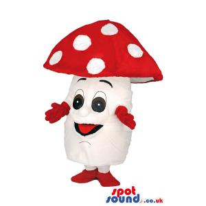 Mushroom mascot with dome shape head with red and white -