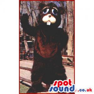 Customizable Plush Brown Raccoon Animal Mascot With Blue Eyes -