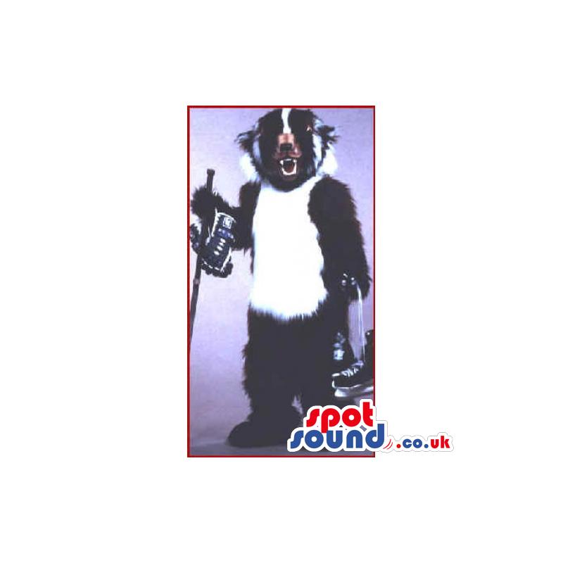Customizable Hairy White And Black Skunk Animal Mascot - Custom
