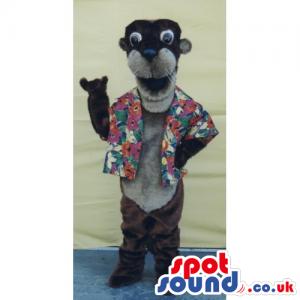 Customizable Sea Lion Mascot Wearing A Flower Shirt - Custom