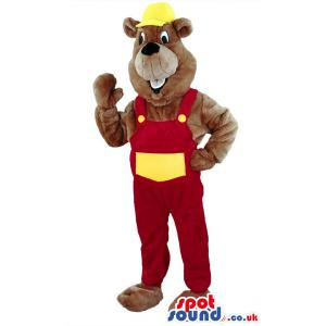 Brown bear mascot with red jumper and with yellow hat - Custom