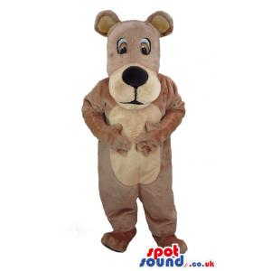 Brown bear mascot with big brown eyes giving a pose - Custom