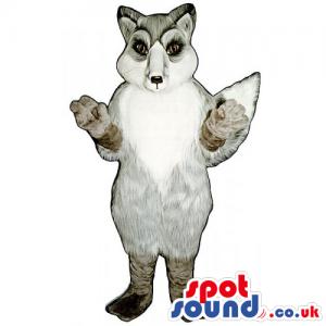 Customizable White And Grey Fox Wildlife Animal Mascot - Custom