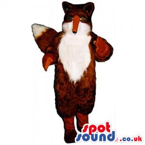 Customizable Plush Brown And White Fox Animal Wildlife Mascot -