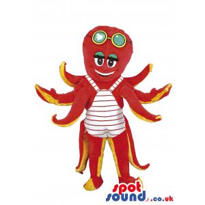 Octopus mascot in red colour with eight tentacles with shades -